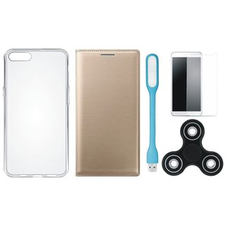 Oppo F5 Premium Leather Cover with Spinner, Silicon Back Cover, Tempered Glas and USB LED Light by Vivacious