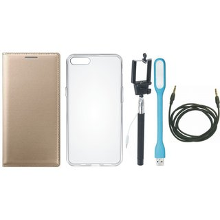 Oppo F5 Leather Flip Cover with Silicon Back Cover, Selfie Stick, USB LED Light and AUX Cable by Vivacious