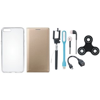 Moto G5 Plus Sleek Leather Cover with Spinner, Silicon Back Cover, Selfie Stick, Earphones, OTG Cable and USB LED Light