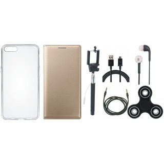 Oppo F5 Premium Leather Case with Spinner, Silicon Back Cover, Selfie Stick, Earphones, USB Cable and AUX Cable