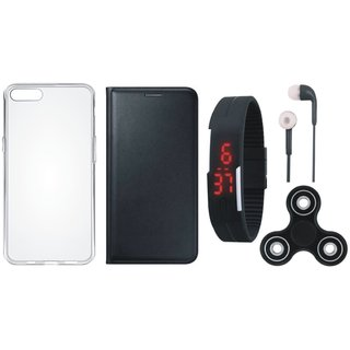 Moto E4 Stylish Leather Cover with Spinner, Silicon Back Cover, Digital Watch and Earphones