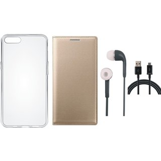 Oppo F5 Leather Flip Cover with Silicon Back Cover, Earphones and USB Cable by Vivacious