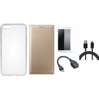 Oppo F5 Premium Quality Leather Cover with Silicon Back Cover, Tempered Glass, OTG Cable and USB Cable by Vivacious