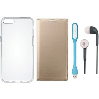 Oppo F5 Leather Flip Cover with Silicon Back Cover, Earphones and USB LED Light by Vivacious