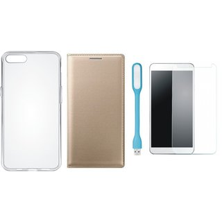 Oppo F5 Flip Cover with Silicon Back Cover, Tempered Glas and USB LED Light by Vivacious