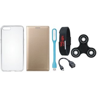 Oppo F5 Sleek Leather Cover with Spinner, Silicon Back Cover, Digital Watch, OTG Cable and USB LED Light