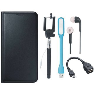 Moto E4 Plus Leather Flip Cover with Selfie Stick, Earphones, OTG Cable and USB LED Light