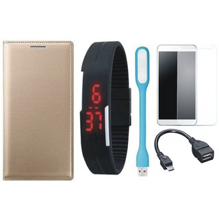 Oppo F5 Stylish Leather Flip Cover with Free Digital LED Watch, Tempered Glass, LED Light and OTG Cable