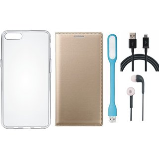 Oppo F5 Leather Flip Cover with Silicon Back Cover, Earphones, USB LED Light and USB Cable by Vivacious