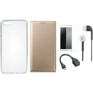Oppo F5 Premium Quality Leather Cover with Silicon Back Cover, Tempered Glass, Earphones and OTG Cable by Vivacious