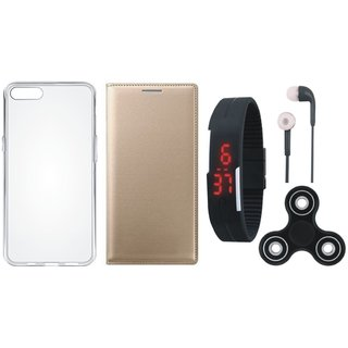 Oppo F5 Sleek Leather Cover with Spinner, Silicon Back Cover, Digital Watch and Earphones