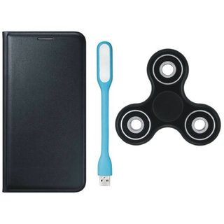 Moto C Plus Premium Leather Case with Spinner, USB LED Light by Vivacious