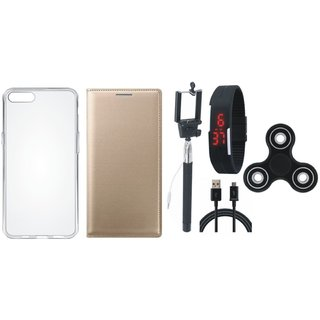 Oppo F5 Premium Leather Case with Spinner, Silicon Back Cover, Selfie Stick, Digtal Watch and USB Cable