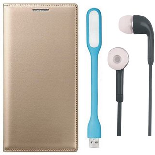 Moto E4 Stylish Leather Flip Cover with Earphones and USB LED Light