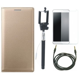 Moto E4 Leather Flip Cover with Free Selfie Stick, Tempered Glass and AUX Cable by Vivacious