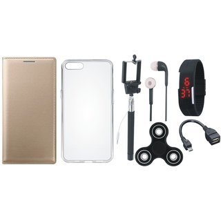 Moto E4 Plus Cover with Spinner, Silicon Back Cover, Selfie Stick, Digtal Watch, Earphones and OTG Cable by Vivacious