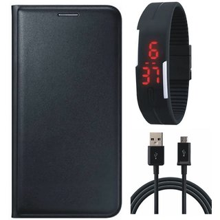 Moto E4 Plus Stylish Leather Flip Cover with Digital Watch and USB Cable by Vivacious