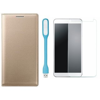 Samsung J7 Prime Stylish Leather Flip Cover with Tempered Glas and USB LED Light