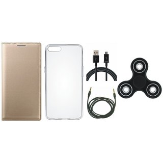 Moto G5 Plus Premium Leather Cover with Spinner, Silicon Back Cover, USB Cable and AUX Cable by Vivacious