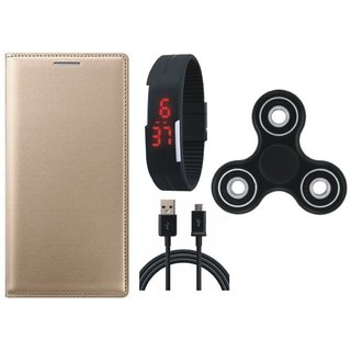 Samsung J7 Prime Premium Leather Cover with Spinner, Digital Watch and USB Cable by Vivacious