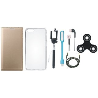 Moto G5 Plus Premium Leather Cover with Spinner, Silicon Back Cover, Selfie Stick, Earphones, USB LED Light and AUX Cable by Vivacious