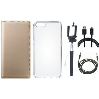 Moto G5s Plus Stylish Leather Flip Cover with Silicon Back Cover, Selfie Stick, USB Cable and AUX Cable