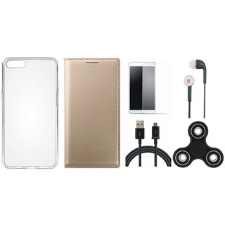 Moto G5s Plus Premium Leather Case with Spinner, Silicon Back Cover, Earphones, Tempered Glass and USB Cable