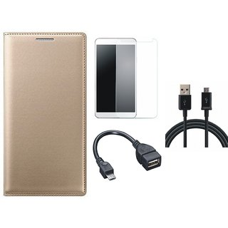Samsung J7 Prime Premium Quality Leather Cover with Tempered Glass, OTG Cable and USB Cable by Vivacious