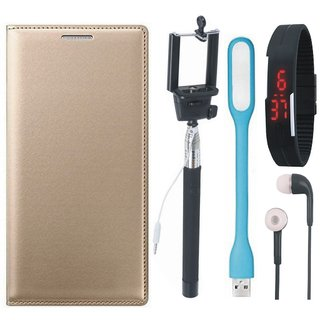 Moto G5 Plus Premium Quality Leather Cover with Selfie Stick, Digtal Watch, Earphones and USB LED Light by Vivacious