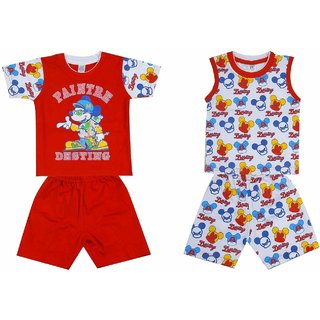 Princeandprincess Cotton Sleeveless and Short Sleeve Round Neck T-Shirt and Pant Combo