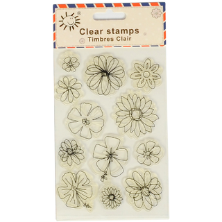 Clear Rubber Stamp,Flower Design, Used in Textile  Block Printing, Card  Scrap Booking Making