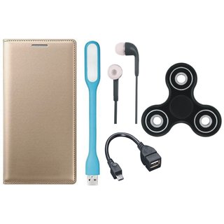 Moto G5s Plus Premium Leather Cover with Spinner, Earphones, USB LED Light and OTG Cable by Vivacious