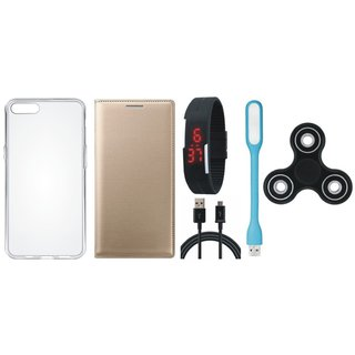 Samsung J7 Prime Premium Leather Case with Spinner, Silicon Back Cover, Digital Watch, USB LED Light and USB Cable