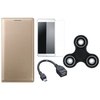 Moto G5s Plus Premium Leather Case with Spinner, Tempered Glass and OTG Cable