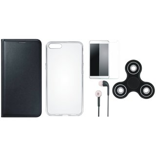 Samsung J7 Prime 2 Stylish Leather Cover with Spinner, Silicon Back Cover, Earphones and Tempered Glass