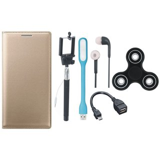 Moto G5s Plus Stylish Leather Cover with Spinner, Selfie Stick, Earphones, OTG Cable and USB LED Light by Vivacious