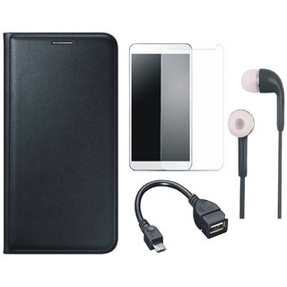 Samsung J7 Prime Stylish Leather Flip Cover with Tempered Glass, Earphones and OTG Cable by Vivacious