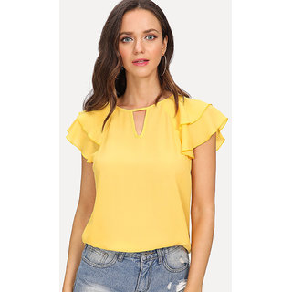 eed356ebd59faf Buy Code Yellow Women s Yellow Solid Double Layer Bell Sleeves Crepe Top  TEE-09 Online - Get 68% Off