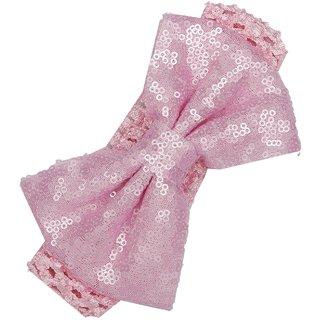 Pikaboo Big Sequin Bow Headband - Pink