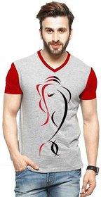 V- Neck Grey Printed T-Shirt at  Shopclues ₹ 199