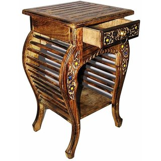 Shilpi Wooden Hand Carved Side Table, Stool Antique Look