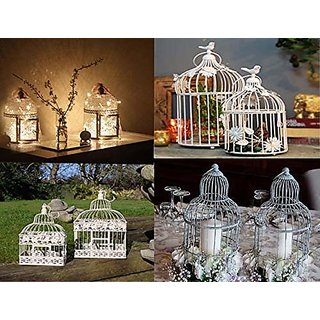 AVMART Home Decorative Designer Bird Cage (Set of 2) with Hanging - White