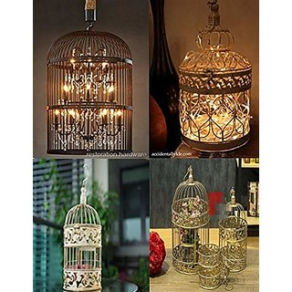 AVMART Home Decorative Designer Bird Cage (Set of 2) with Hanging - Gold