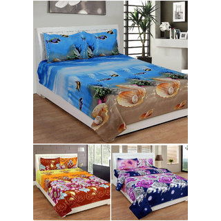 Status Micro Fibre 3 Double Bedsheets with 6 Pillow Covers