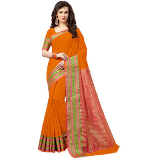 Ashika Traditional Cotton Silk Woven Pale Orange Saree for Women with Blouse Piece