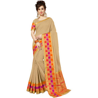 Ashika Traditional Cotton Silk Woven Light Beige Saree for Women with Blouse Piece