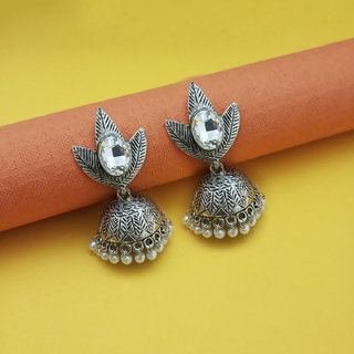 Code Yellow Women's White Beads Rhodium Plated Jhumki Earrings 1311548