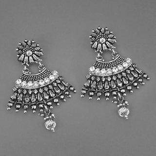 Code Yellow Women's White Austrian Stone Rhodium Plated Jhumki Earrings 1311582