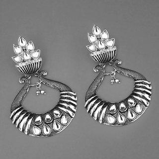 Code Yellow Women's Kundan Rhodium Plated Jhumki Earrings 1311583
