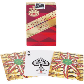 Parksons Cartamundi Plastic Coated Paper Playing card (Pink Gold 555) for fun / game / party - Pack of 3